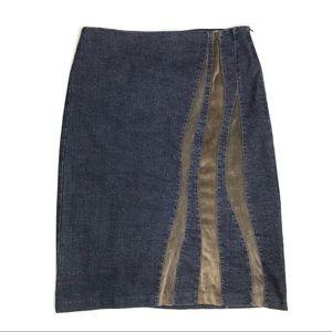 Poleci Denim & Velvet Knee Length Jeans Skirt